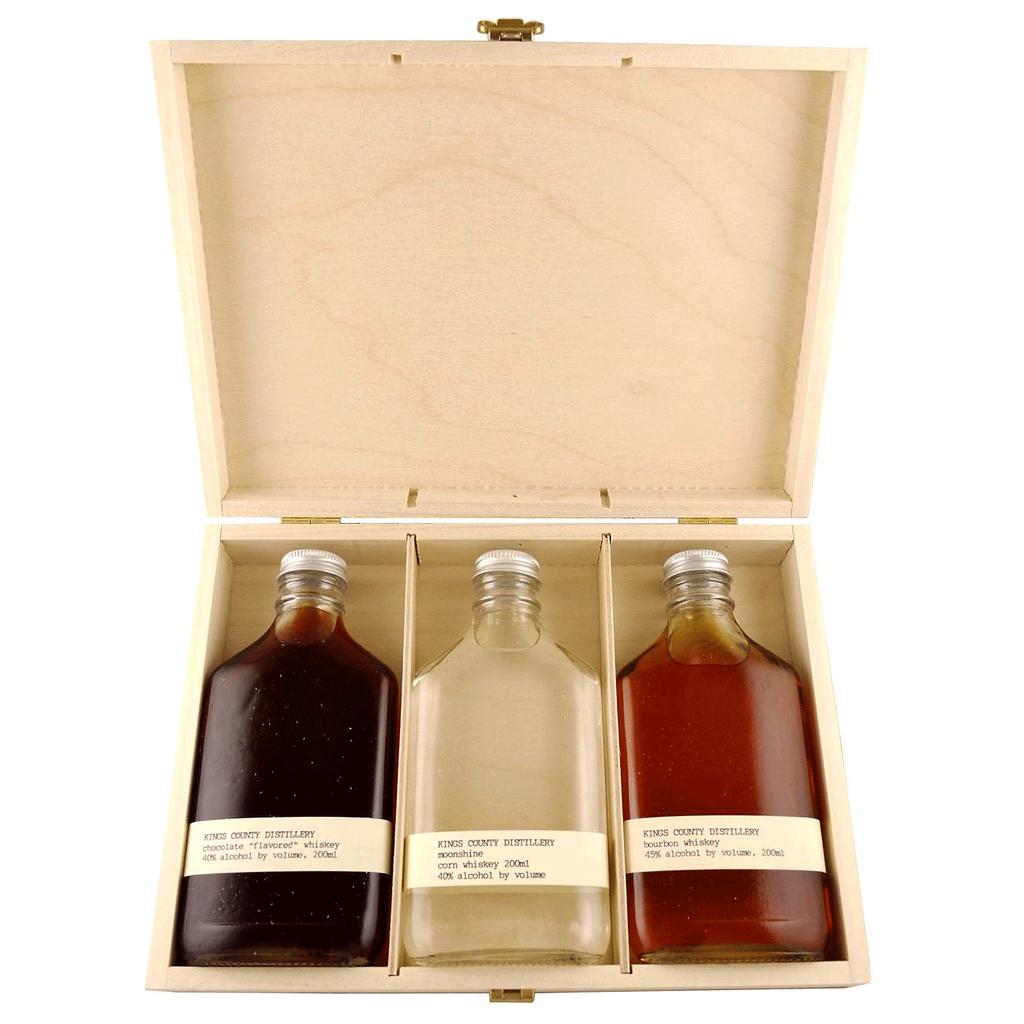 Spirits Kings County Distillery Classic Gift Set Wood Box 3 x 200ml