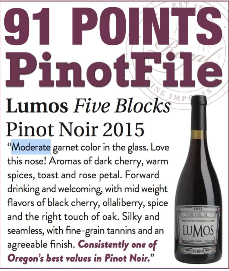 Wine Lumos Willamette Valley Pinot Noir Five Blocks 2015