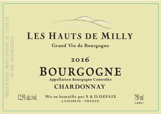 Wine Les Hauts de Milly Bourgogne Chardonnay 2017