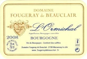 Wine Domaine Fougeray de Beauclair Bourgogne Blanc L'Ormichal 2017