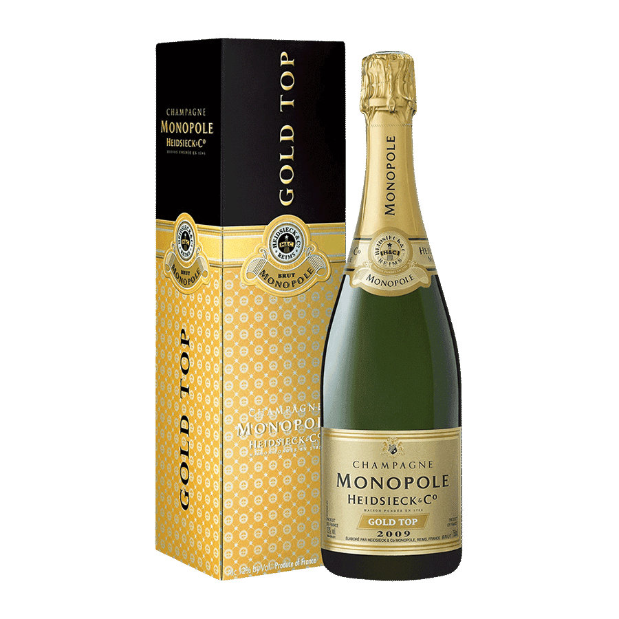 Sparkling Heidsieck Champagne Monopole Gold Top Gift Box 2005