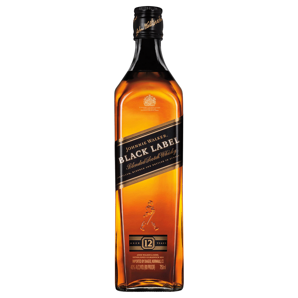 Spirits Johnnie Walker 'Black Label' Blend Scotch 12 Year with 2 glasses