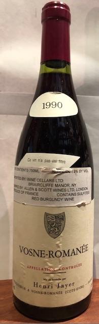 Wine Henri Jayer Vosne Romanee 1990