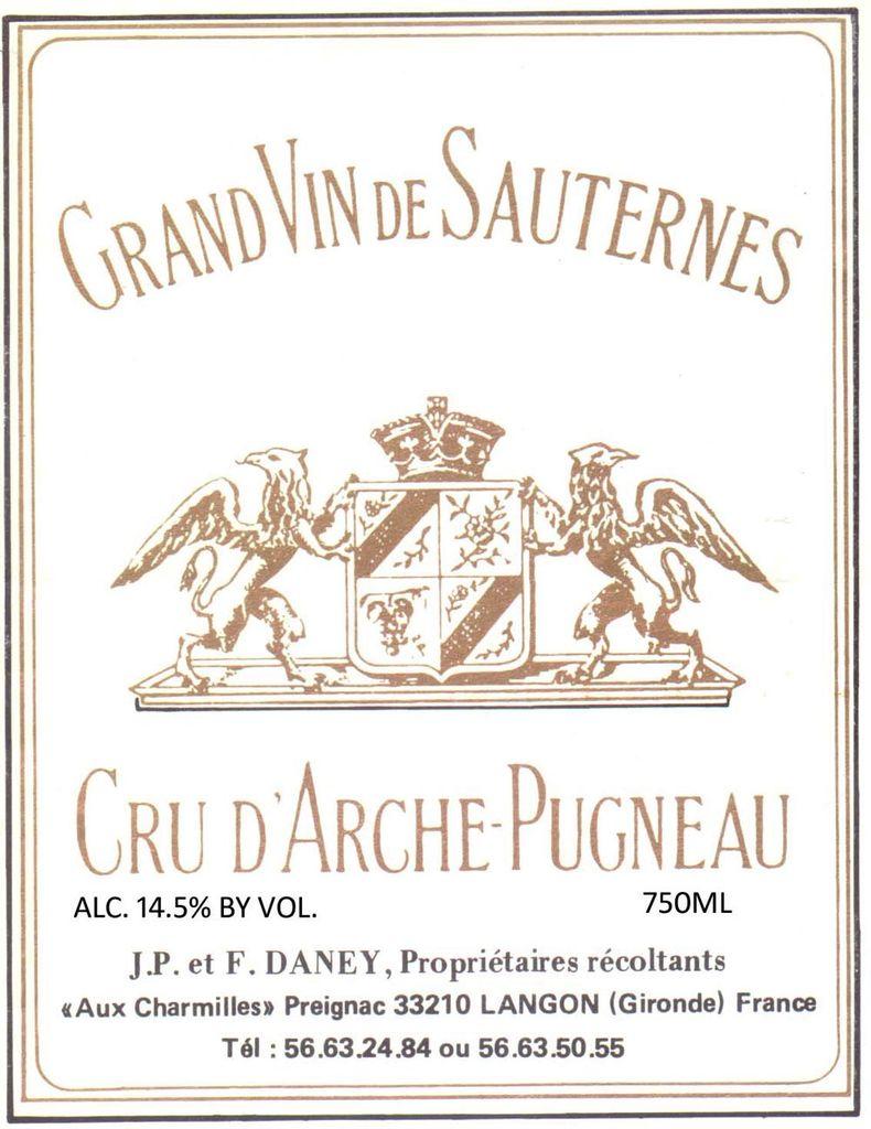 Wine Cru d'Arche-Pugneau Sauternes 2011 1,5L