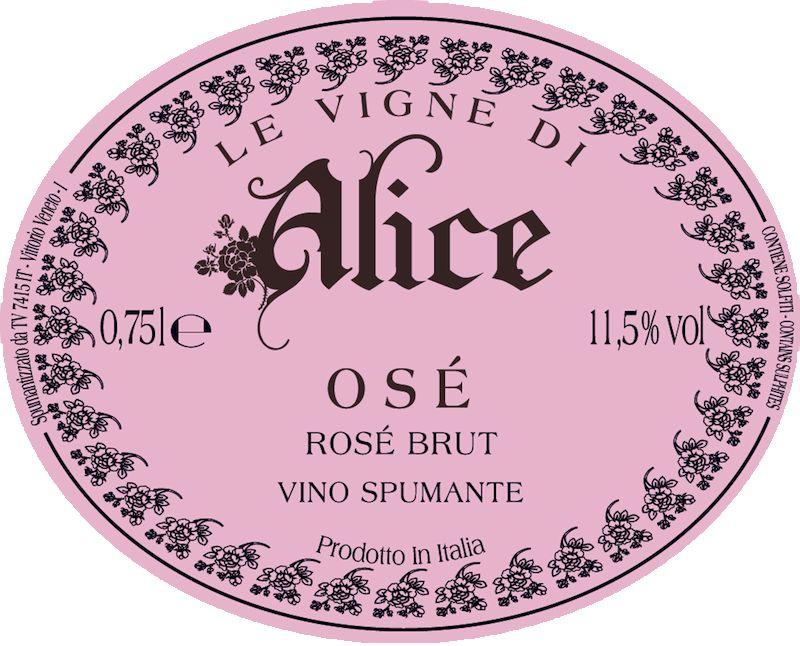Sparkling Alice Ose Brut Rosato Prosecco