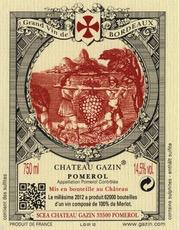 Wine Chateau Gazin, Pomerol 2012