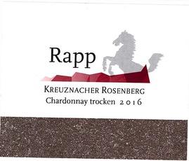 Wine Weingut Rapp Chardonnay Kreuznacher Rosenberg Trocken 2016