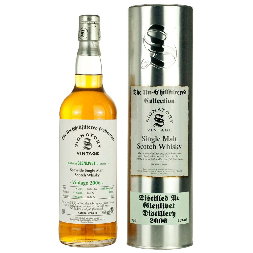 Wine Unchillfiltered Signatory Glenlivet Single Malt Scotch Whisky 2006 Sherry Butt
