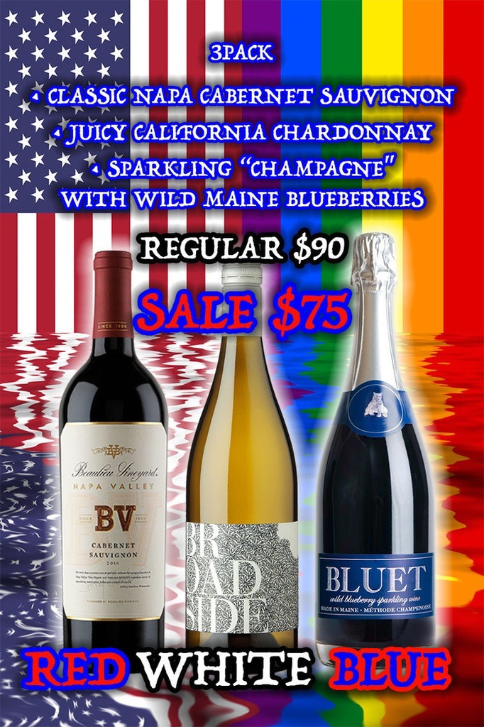 Wine Red, White, Blue 3-bottle-case wine
