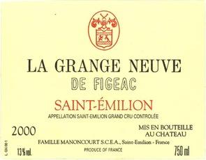 Wine La Grange Neuve de Figeac Saint Emilion 2011