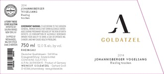 Wine Goldatzel, Riesling Johannisberger Vogelsang Trocken 2016