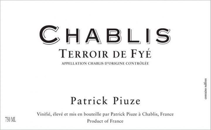 Wine Patrick Piuze Chablis Terroir de Fye 2019