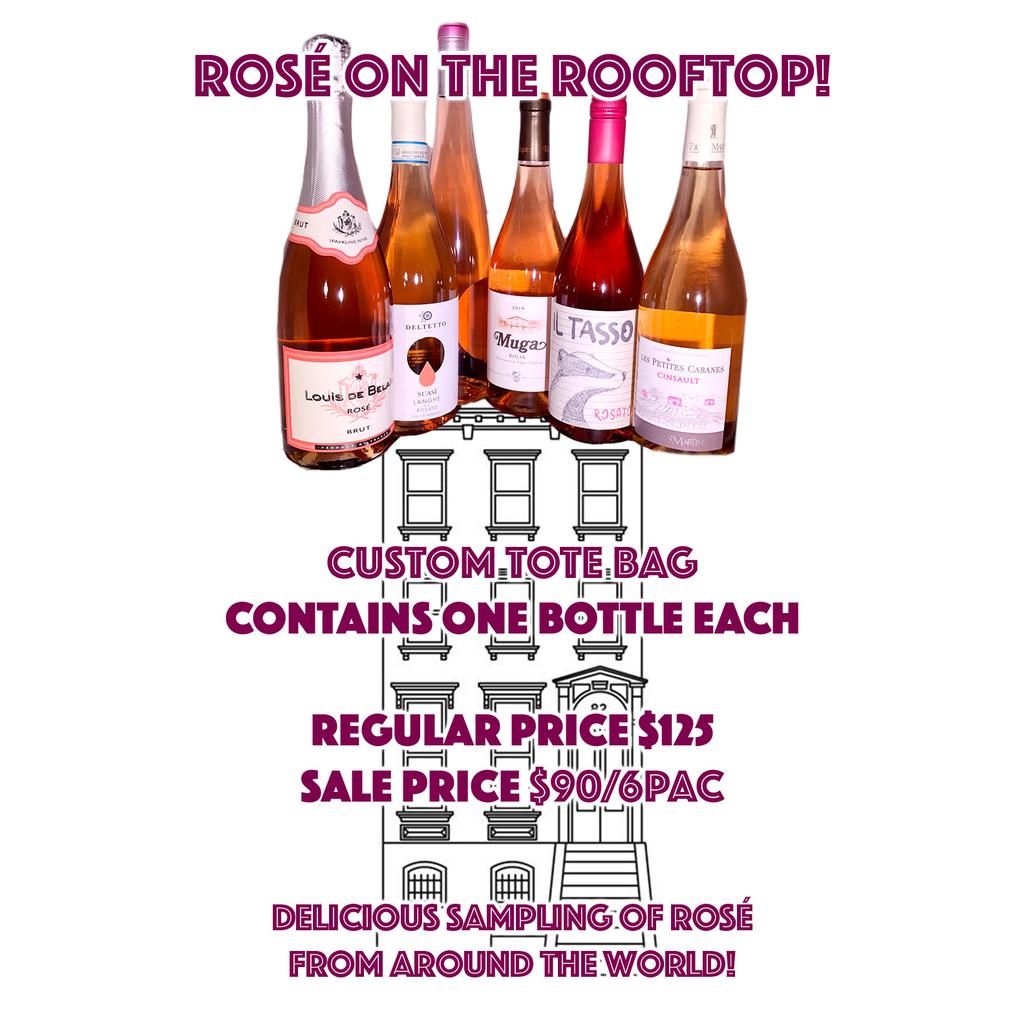 Wine Rooftop Rose 6 bottles Rose Sampler in Royal Tote Bag