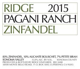 Wine Ridge Vineyards Zinfandel Pagani Ranch Sonoma Valley 2017