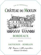 Wine Chateau du Moulin Bordeaux Blanc 2018