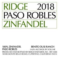 Wine Ridge Vineyards Zinfandel Benito Dusi Ranch Paso Robles 2018
