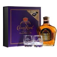 Spirits Crown Royal Canadian Whisky with 2 Holiday Glasses