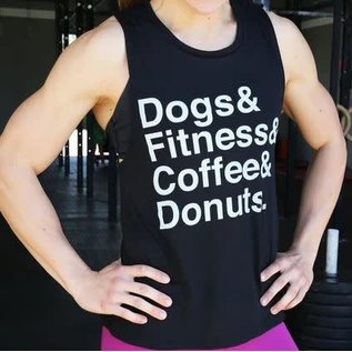 Wags and Weights Dogs, Fitness, Coffee Donuts Tank