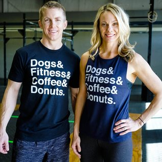 Wags and Weights Dogs, Fitness, Coffee & Donuts Tee