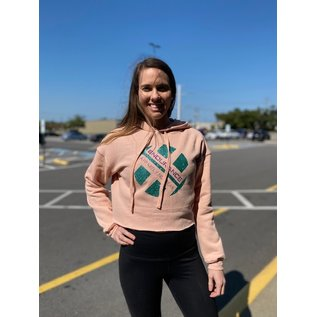 Endurance Apparel & Gear Glitter Crop Fleece Hoodie Peach