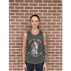Endurance Apparel & Gear I Survived Hell - Scoop Muscle Tank Dark Olive