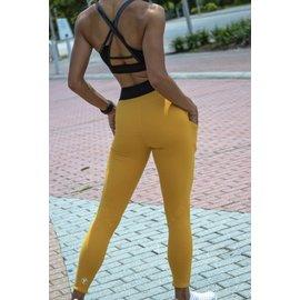 Total Elite Athletics V-band Pocket Leggings Golden Yellow