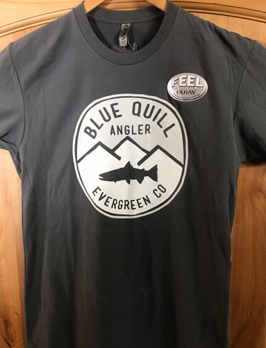 BLUE QUILL ANGLER BQA ICON LOGO SUEDED SHORT SLEEVE T-SHIRT