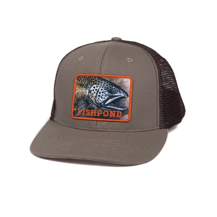 FISHPOND Fishpond Mid-Crown Slab Trucker Hat - Sandstone/Brown
