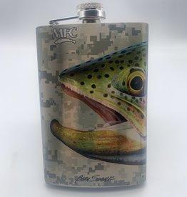 MONTANA FLY MFC Stainless Steel Hip Flask - Sundell's Starlight Rainbow - Grey Camo