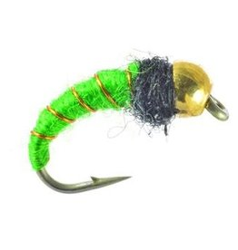 UMPQUA BEAD HEAD CADDIS LARVA - BRIGHT GREEN - PER 3