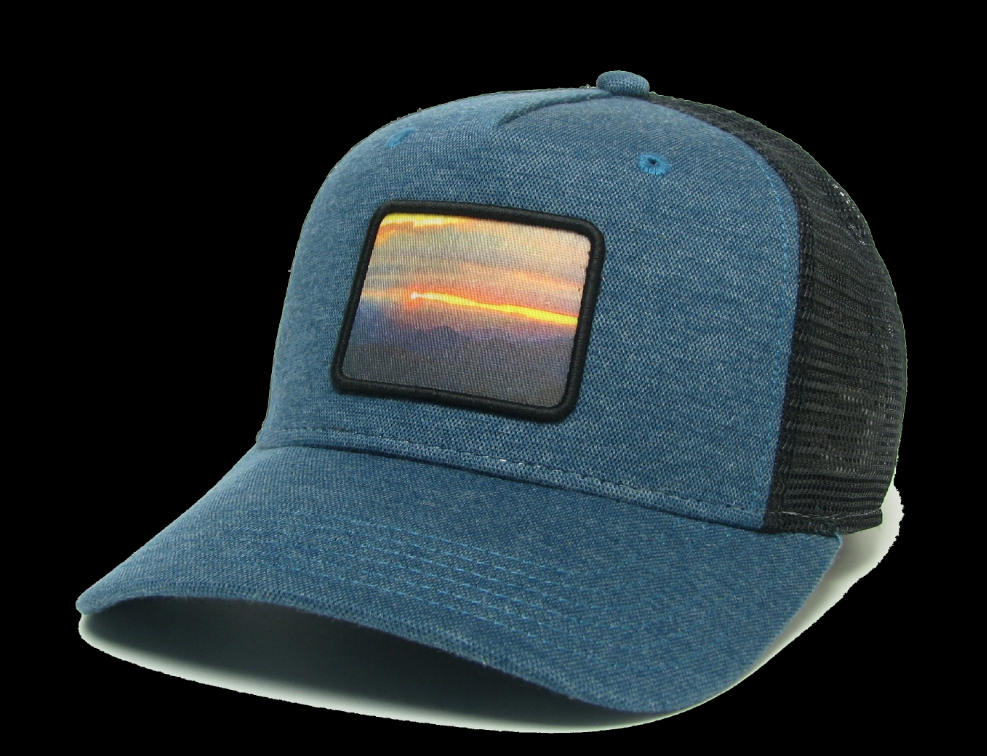 Midwest and Beyond Colorado Sunset Marine Blue/Black Roadie Trucker