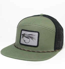 Midwest and Beyond Black and White Fly Olive/Black with Rope Hopback Trucker
