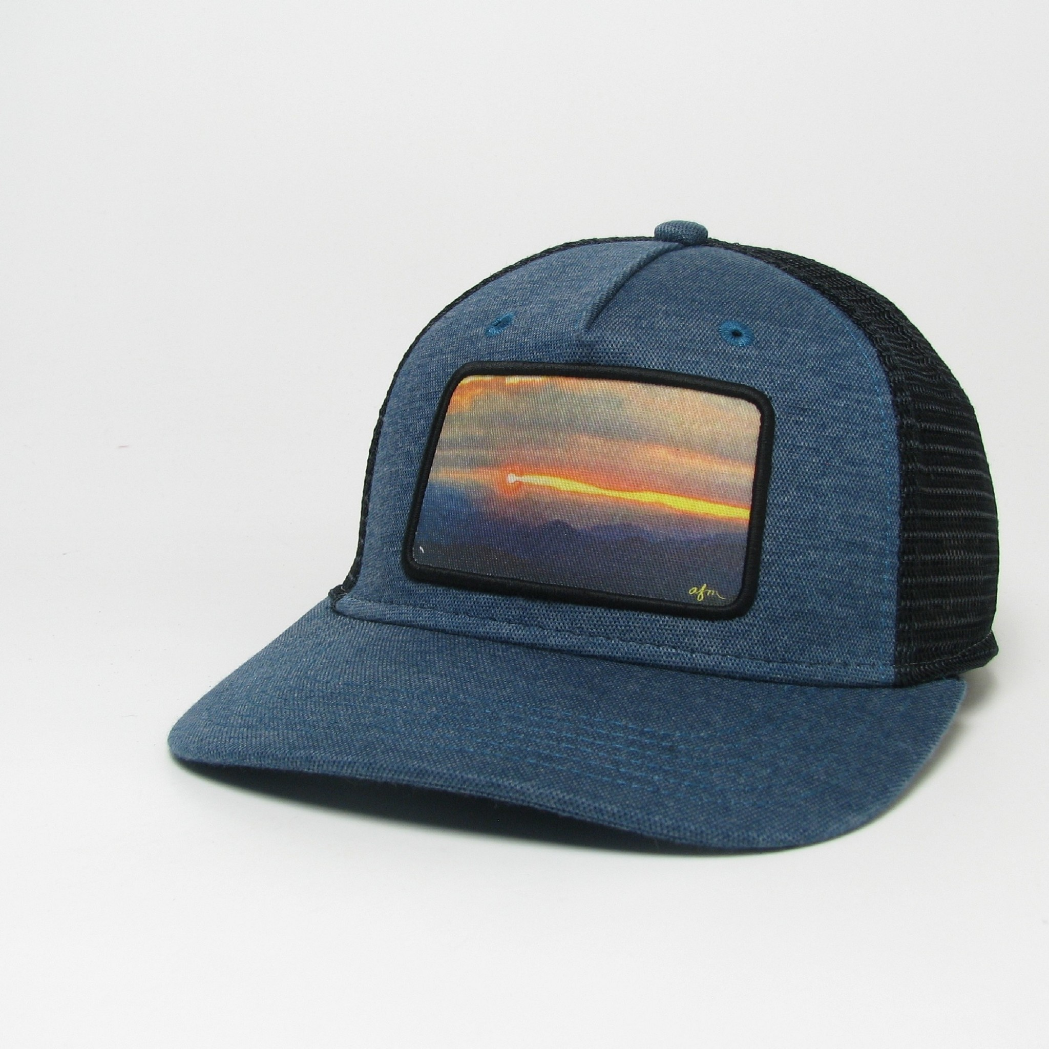 Midwest and Beyond Trout Sunrise Navy/Black Hopback Trucker with Rope