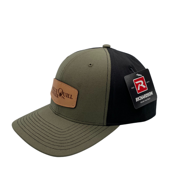 BLUE QUILL ANGLER BQA Logo Solid Twill Trucker (R-312) - Leather Patch