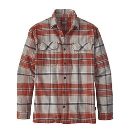 PATAGONIA Patagonia Mens Long-Sleeved Fjord Flannel Shirt - On Sale!! Buckstop Plaid - Roots Red Small