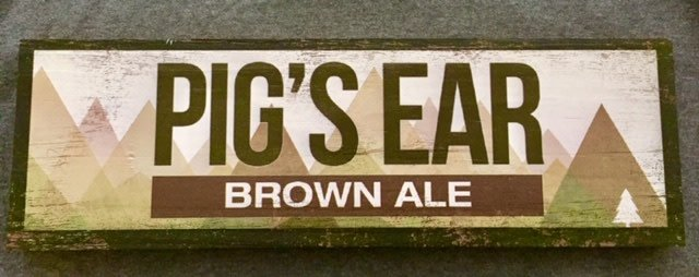 Pigs Ear Wood Sign 17 1/2 x 5 1/2 x 1