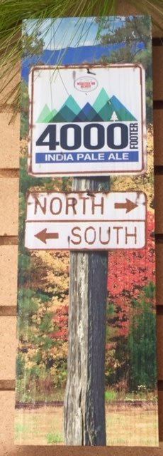 4000 Footer North - South Wood Sign 17 1/2 x 5 1/2