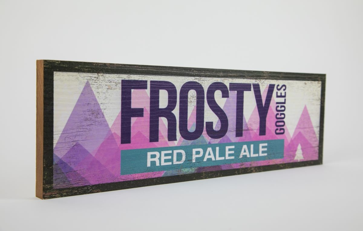 Frosty Goggles Red Pale Ale Wood Sign 17 1/2 x 5 1/2