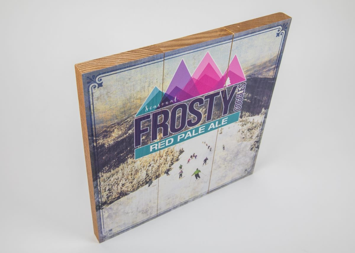Frosty Goggles Red Pale Ale 10 1/2 x 10 1/2 Wood Sign