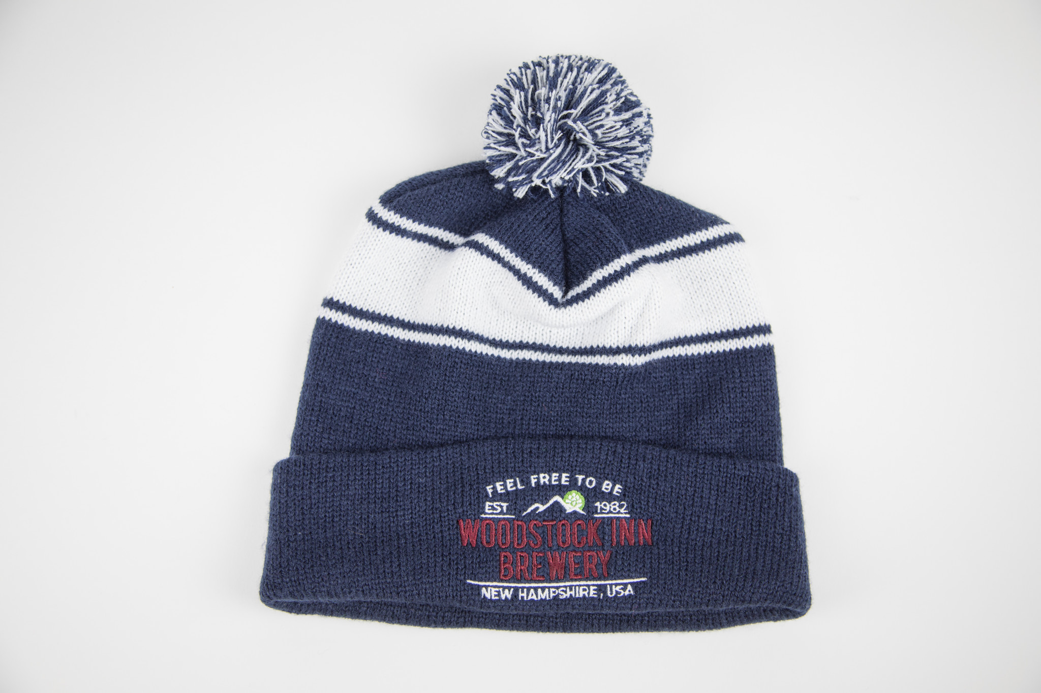 knit pom pom hat blue