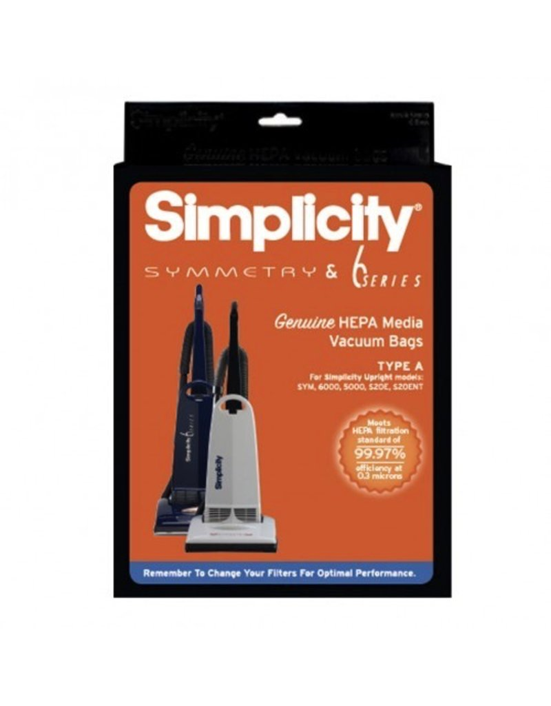 Simplicity This 6-pack of genuine HEPA media vacuum bags capture dust and allergen particles. Bags fit Simplicity Sentry and many Symmetry models. See Details below for your model. Note: packaging may vary.