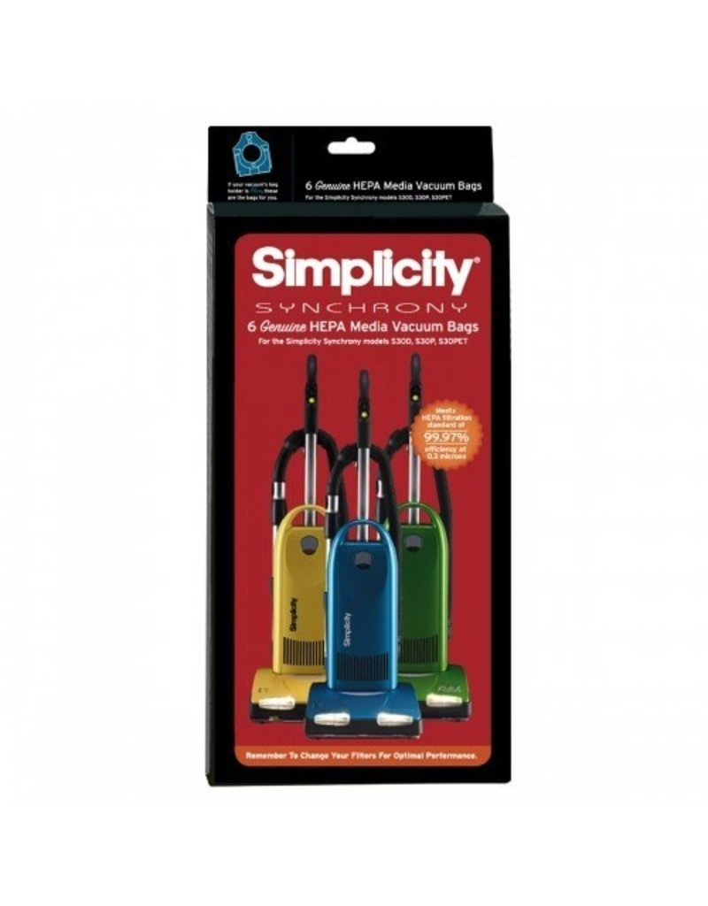 Simplicity It's nothing to sneeze at -- these genuine HEPA media replacement bags for Simplicity Synchrony S30 models trap dust, dirt and other particles. The bags feature the blue self-sealing bag collar for clean and easy removal and replacement. Pack of 6 bags.