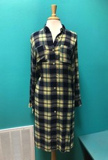 Tunic Long Plaid Button Up Shirt