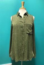 Top Olive Cold Shoulder Button Up