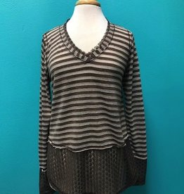 Long Sleeve Brown Stripe LS Lace Hem