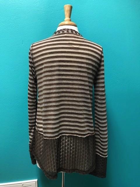 Long Sleeve Brown Stripe LS Lace Hem