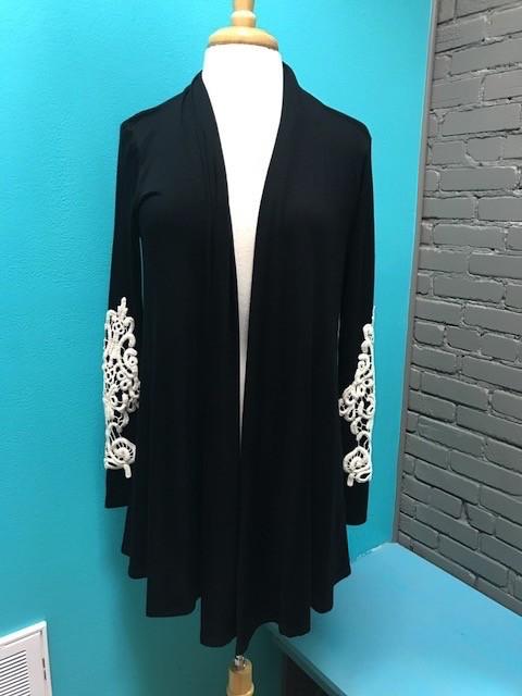 Cardigan Black Cardi Crochet Sleeve