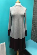 Dress Gray/Burg Mock Neck Dress