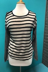 Long Sleeve Striped LS Elbow Patch Top