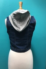Vest Denim Hooded Vest w/ Design